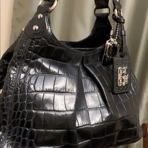 Coach Maggie croc embossed leather bag.